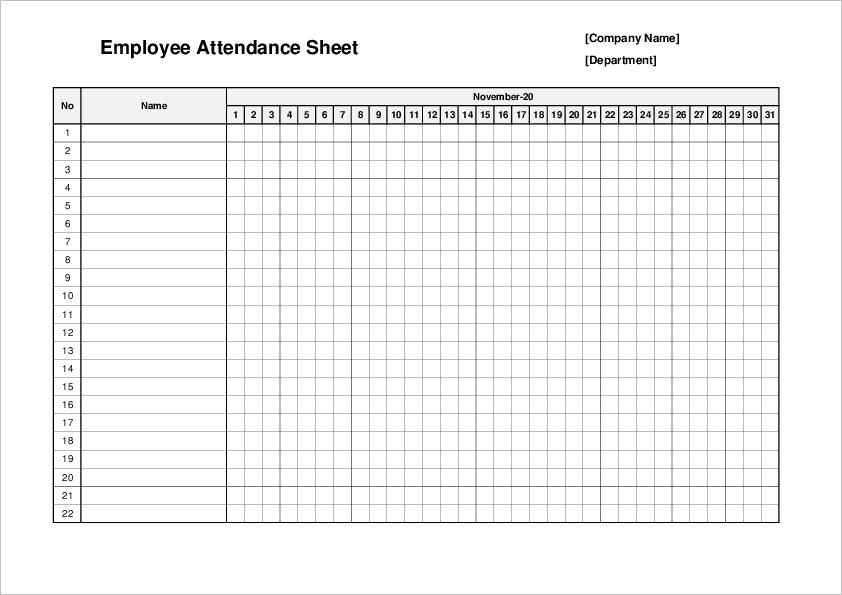Attendance template03