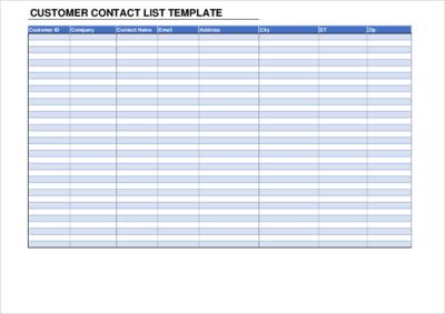 Customer Contact List Template01