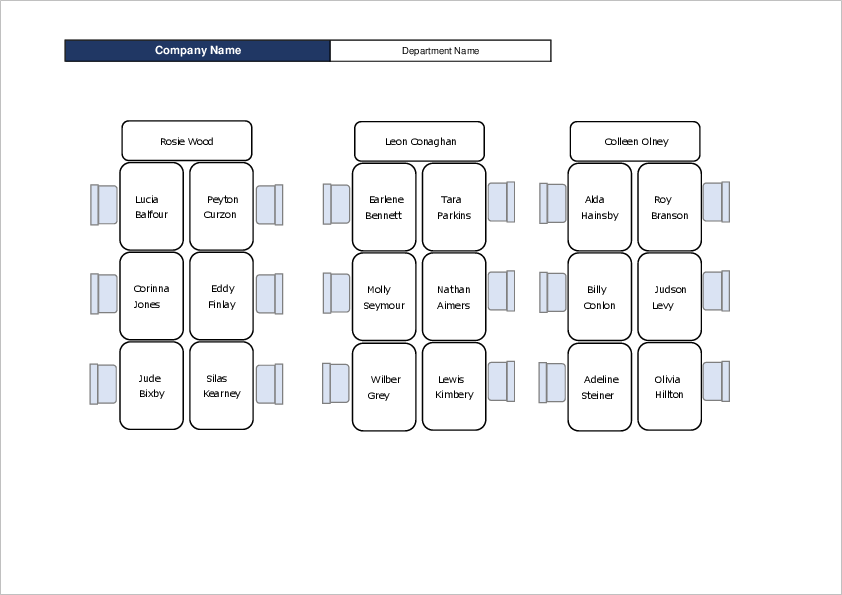 Office Seating Chart Template01 for Excel
