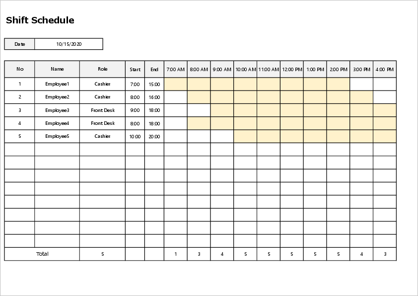 Monthly shift excel template02