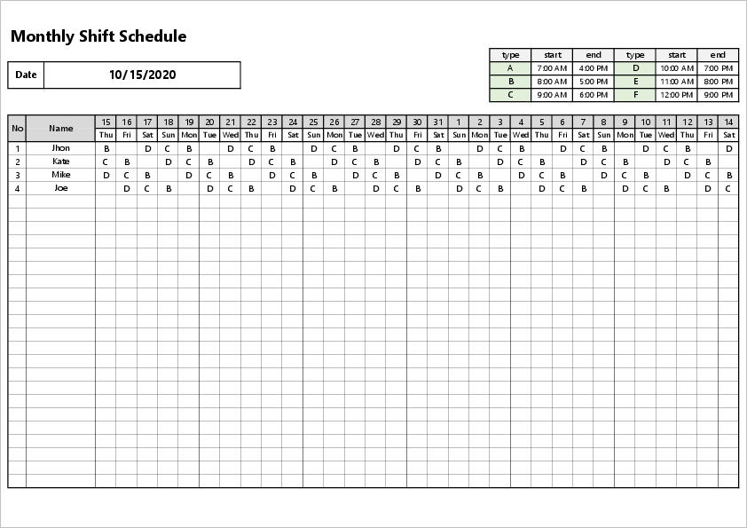 Monthly shift excel template03