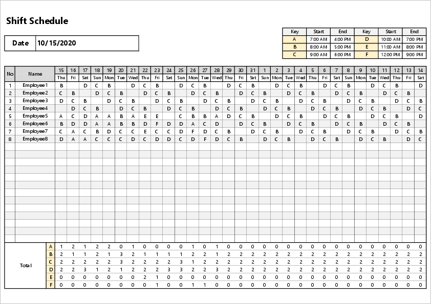 Monthly shift excel template04