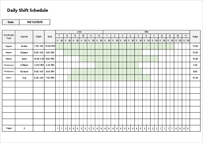Monthly shift excel template06